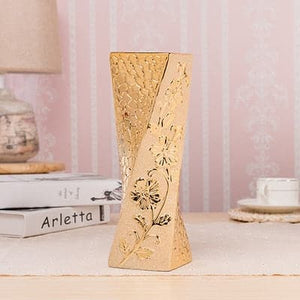 Luxury American Europe Style Gold-Plated Ceramic Vase Home Decor Creative Design Porcelain Decorative Flower Vase for Wedding and Home Decorations