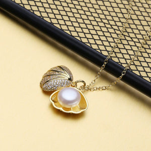 FENASY Women's Fine Fashion Gold Shell Necklace Genuine Freshwater Natural Pearl Jewelry - Divine Inspiration Styles