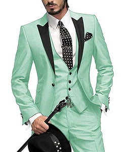 ELEGANCE Men's Suit Stylish Formal Wear One Button 3 Pieces Custom Made Wedding Suit Jacket Set and Groom Tuxedo Suit Set for Men (Jacket+Pants+Vest)