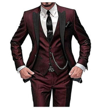 ELEGANCE Men's Fashion Formal Suits Stylish Formal Wear One Button 3 Pieces Custom Made Wedding Suit Jacket Set and Groom Tuxedo Suit Set for Men (Jacket + Pants + Vest) - Divine Inspiration Styles