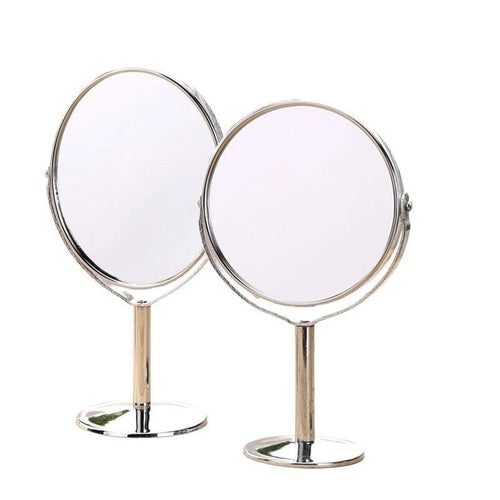 Jollity Silver Desktop Makeup Mirror 2-Face Metal Mirror 2X Double Side Cosmetic 1:2 Magnifying Function Glass Cosmetic Mirror - Divine Inspiration Styles