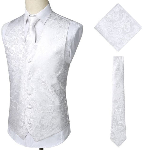 MWS Men's Fashion Brand Gold Decorated Paisley Men's Suit (Vest + Tie + Pocket Squares) 3pcs Set Paisley Floral Sleeveless Wedding Vests Men's Party Club Prom Vest - Divine Inspiration Styles