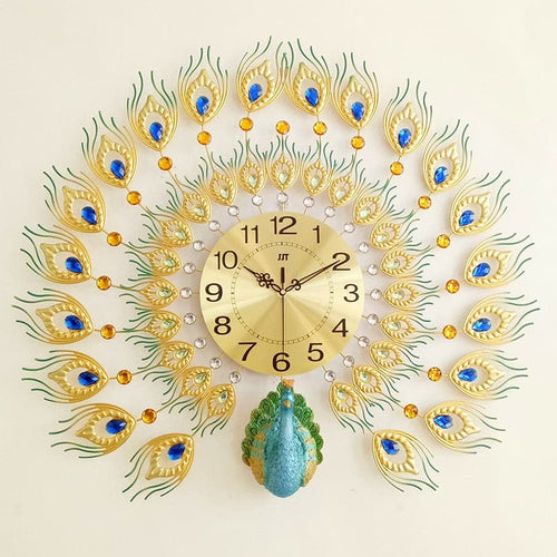 PROSPERITY Peacock Wall Clock for Living Room Creative Fashion Decorative Wall Clock