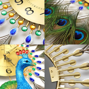 PROSPERITY Peacock Wall Clock for Living Room Creative Fashion Decorative Wall Clock - Divine Inspiration Styles
