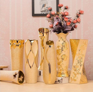 LUXELIVING Gold Plated Luxury Style Golden Ceramic Vases for Decorations - Divine Inspiration Styles