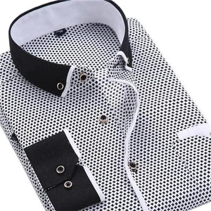 QISHA Men's Classic Fashion Casual Long Sleeves Printed Business Dress Shirt - Divine Inspiration Styles