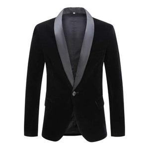 PYJTRL Men's Fashion Premium Quality Fashion One Button Velvet Blazer Suit Jackets - Divine Inspiration Styles