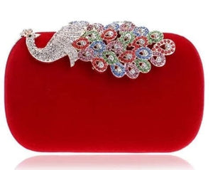 YGM-ROYAL-PEACOCK Women's Fashion Statement Crystal Rhinestone Day and Evening Clutch Bag - Divine Inspiration Styles