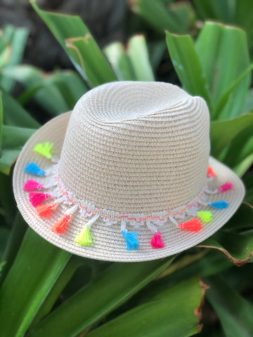 girls panama hat with neon tassel trim