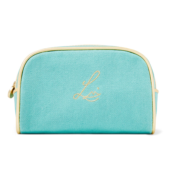 The Aquamarine Linen Makeup Pouch