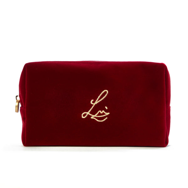 The Cherry Velvet Makeup Pouch