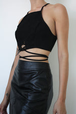 Black Suedette Wrap Crop Top
