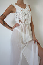 White Woven Sheer Dress