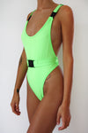 Green Neon Belt One Piece Swimsuit