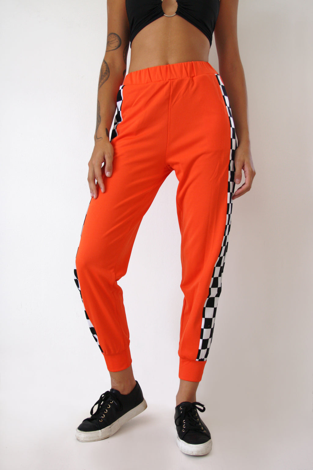 Orange Checkerboard Track Pants