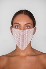 White Sparkly Face Mask Cover