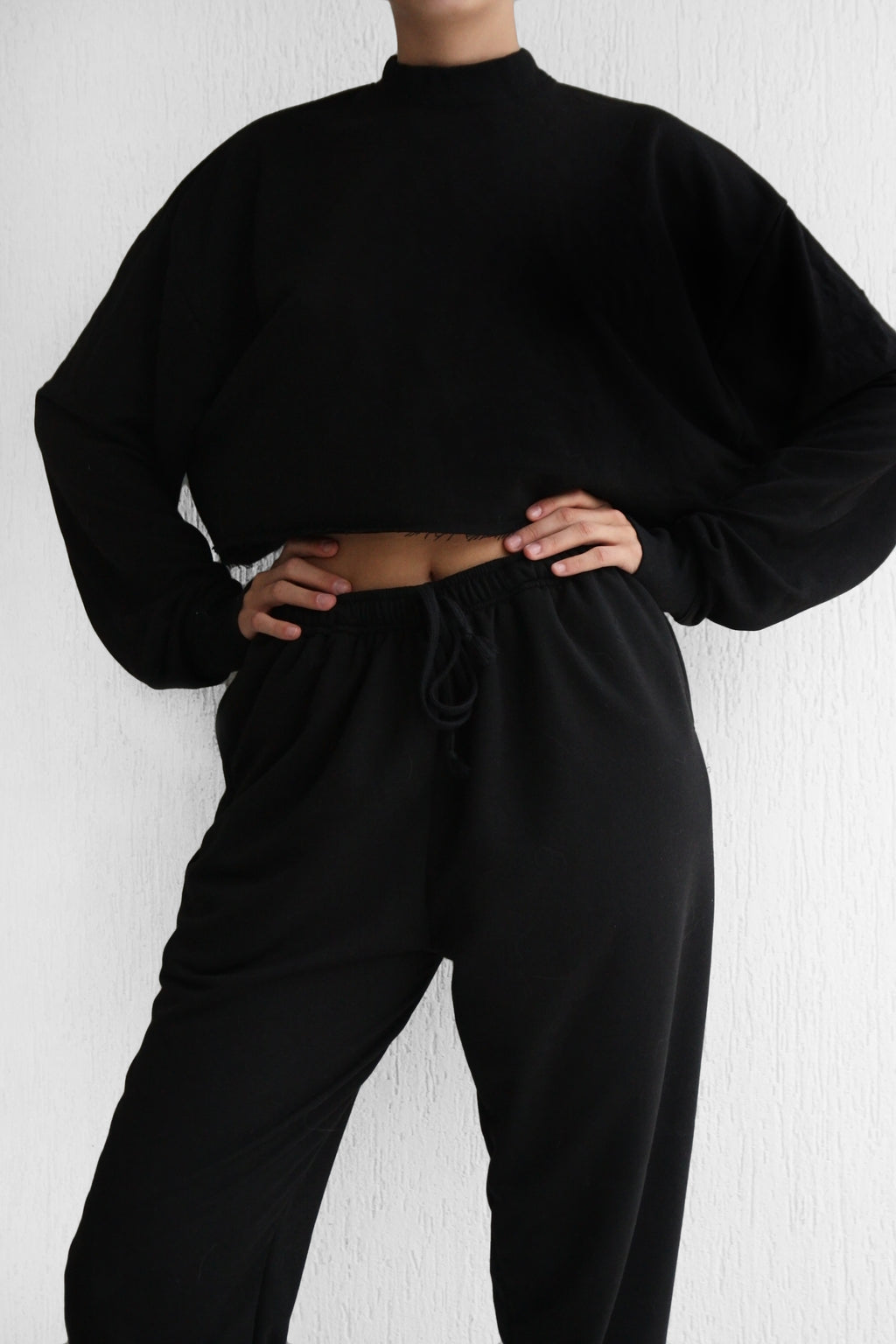 Black Plain Tracksuit Set