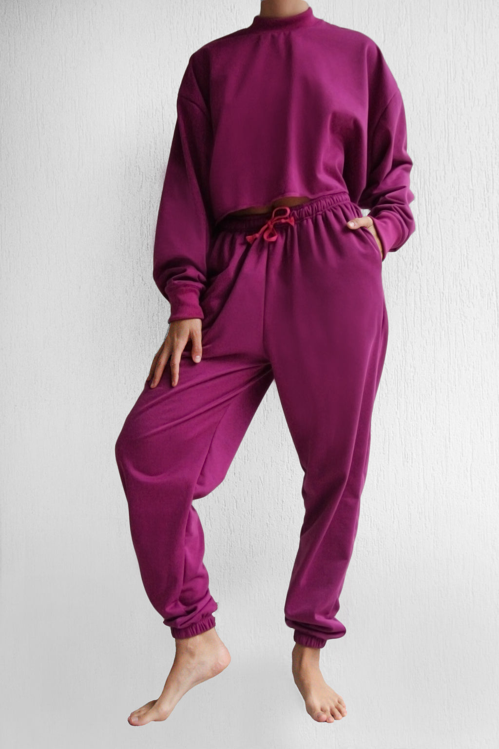 Purple Plain Tracksuit Set