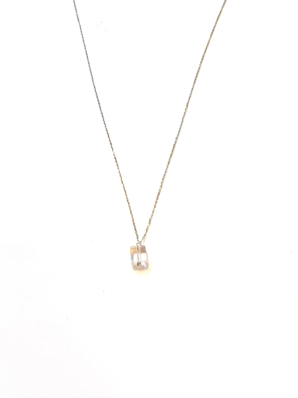 Cube Rock Crystal Silver Necklace