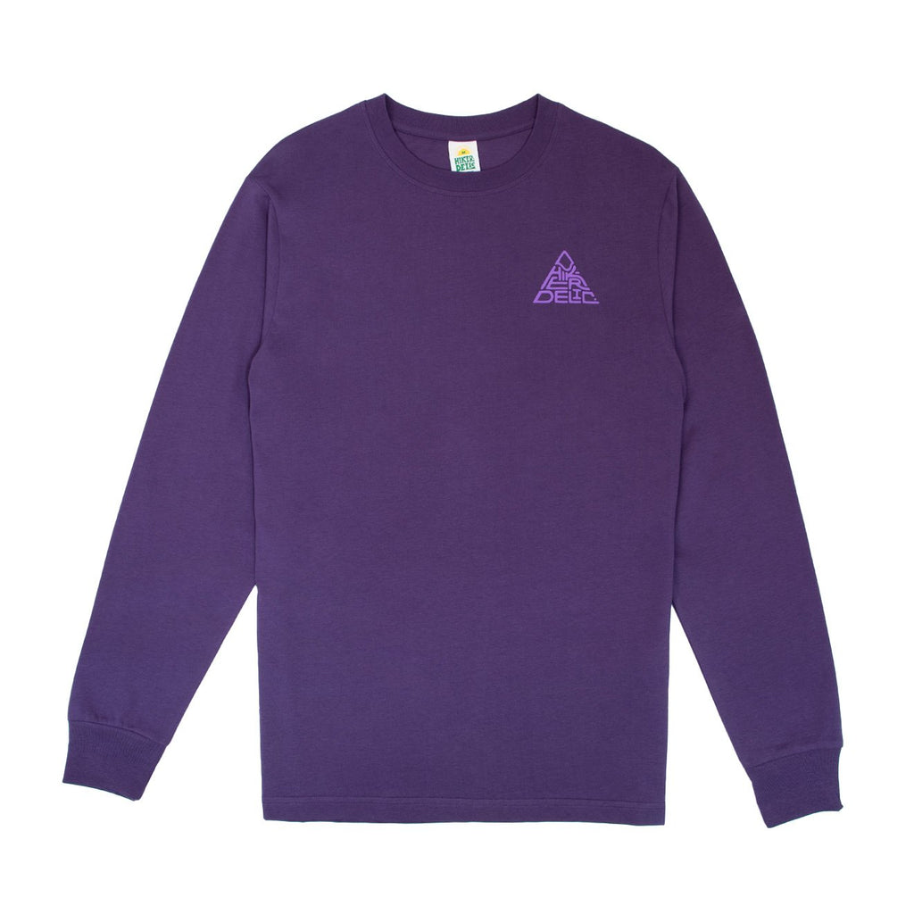 Hikerdelic Mountain Logo Long Sleeve Purple Tee