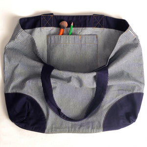 Yarmouth Oilskins - Ticking Stripe & Navy Shopper