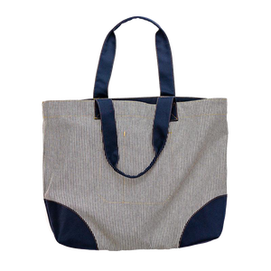 Ticking Stripe & Navy Shopper