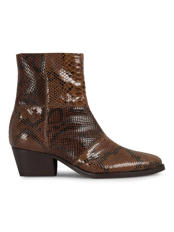Fogg Snake Print Brown Leather Boot
