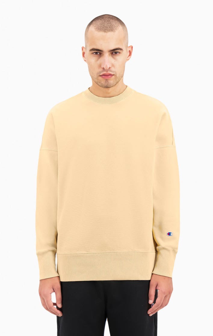 Champion Drop Shoulder Reverse Weave Crewneck Sweat Sand