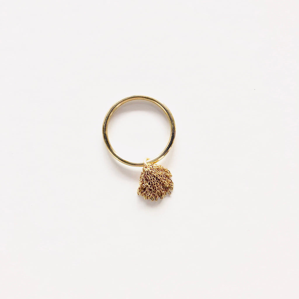 Bird - gold pom pom ring
