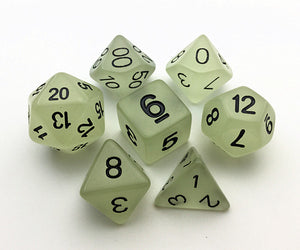 "7pc Set ""Bright Glow""  I  Glows in the Dark  I  D4-D20"
