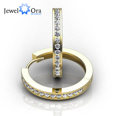 2mm Width With Gold Color Cubic Zirconia Hoop Earrings  (Jewelora EA101743)