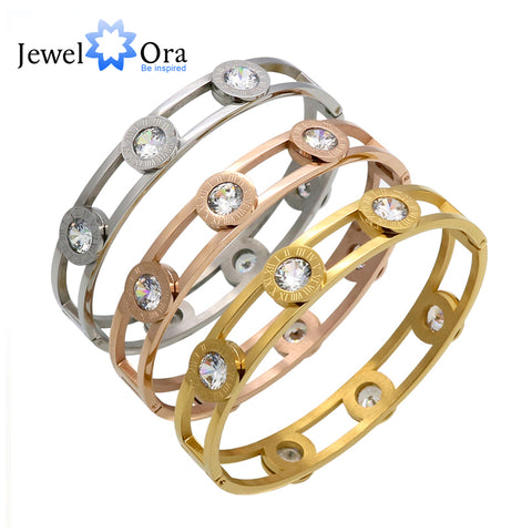 Cubic Zirconia Hollow Cuff Bangles Roman Numerals Gold Color (JewelOra BA101618)