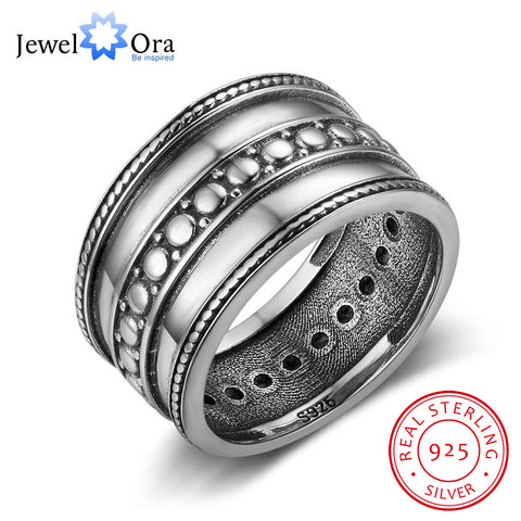 Solid  Female Rings Three Layers 12mm Wide Rings Vintage Style Jewelry Gift  (JewelOra RI102782)