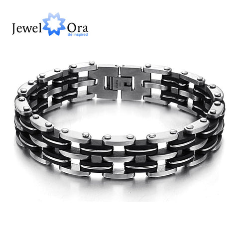 215mm Fashion 3-layers Men Bracelets & Bangles Punk Black (JewelOra BA101389)