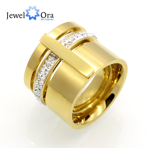16mm Width Brand Design Rhinestone 316L  For Women Gold Color (JewelOra RI102371)