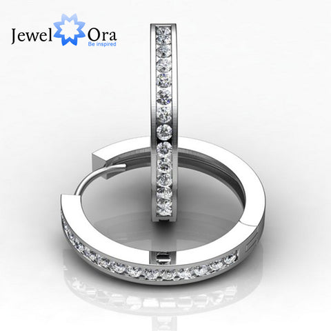 2mm Width  Rhodium Plated Cubic Zirconia Hoop Earrings For Women Jewelry (Jewelora EA101742)