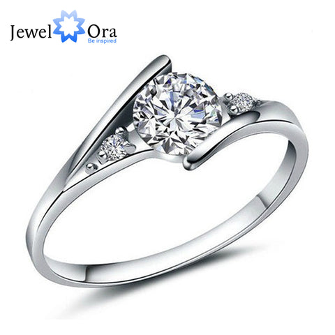 Fashion  Silver Ring White Cubic Zirconia Lady (JewelOra RI101250)