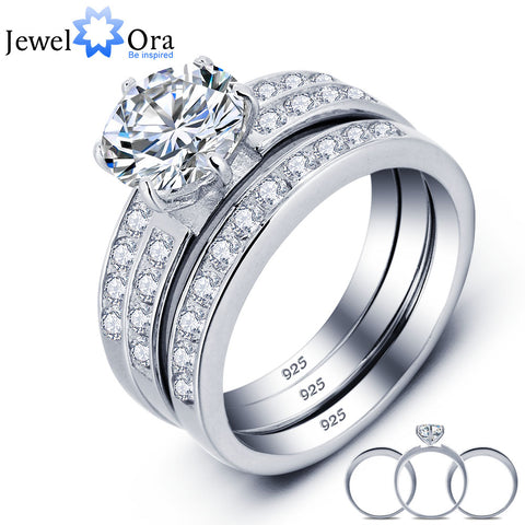 Luxurious Wedding Classic Round Cubic Zirconia Ring Sets (JewelOra RI101687)