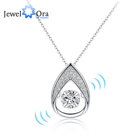 Dancing Stone Wedding Jewelry Cubic Zirconia Necklaces Pendants For Women (JewelOra PE101377)