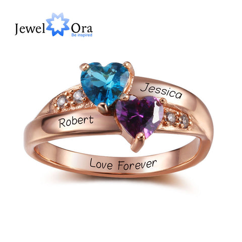 Birthstone Heart Rings Personalized Jewelry Engrave CZ Rings  (JewelOra RI102347)