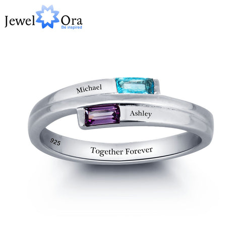 925 Sterling Silver Promise Personalized Rings Names Birthstone Jewelry  (JewelOra RI101782)