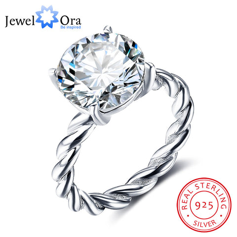 12mm Round Cubic Zirconia  Wedding Jewelry Rings For Women (JewelOra RI102325)