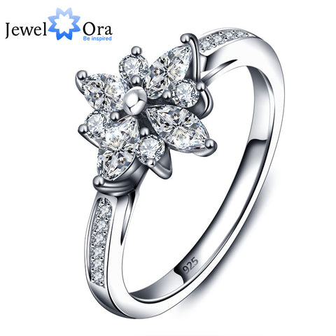 Fashion Flower Design Cubic Zirconia Engagement Rings For Women   (JewelOra RI101707)