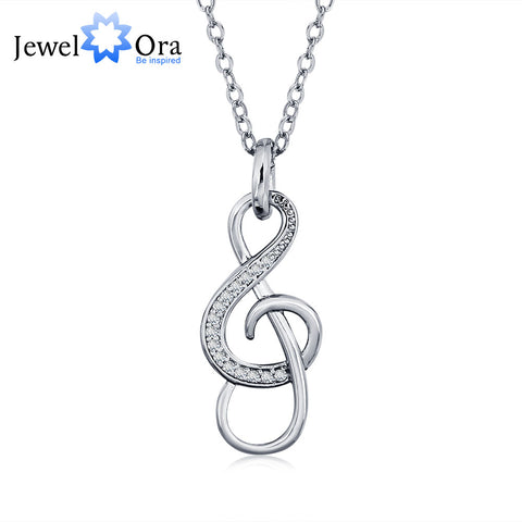 Fashion Musical Note Shape Cubic Zirconia Women Silver (JewelOra NE101239)