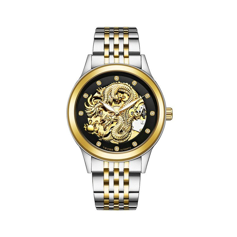 Automatic Mechanical Wrist Watches Men's Watch Waterproof Watches Golden Dragon
