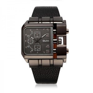 Men's Sports Quartz Watches Military Square Dial Leather Strap