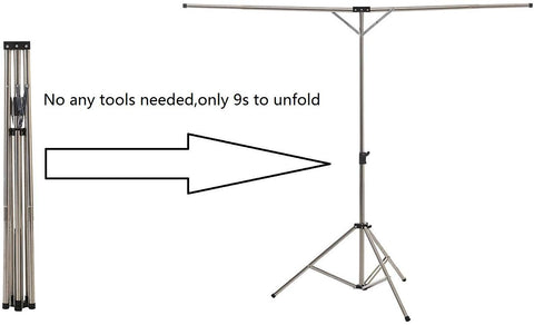 Image of BigTron Clothes Airer Rail, Folding Clothes Drying Rack Telescoping High Capacity Stainless Steel Laundry Drying Rack Adjustable Tripod with Shoulder Carry Storage Bag