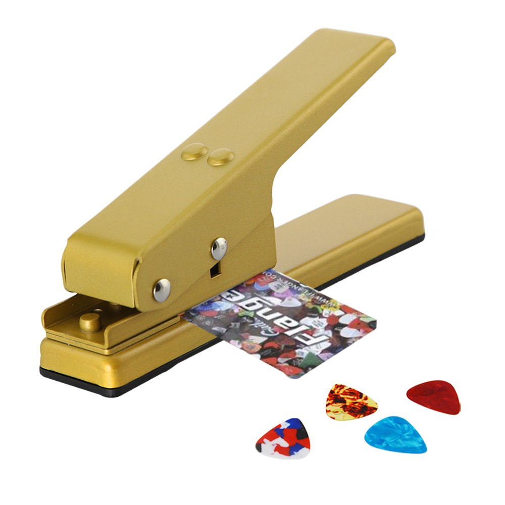 DBPOWER Custom Guitar Pick Punch, Plectrum Pick Press Plastic Card Hole Punch Picks Maker Cutter DIY Machine, Golden