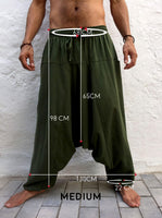 Baggy Cotton Pants with Pockets Green