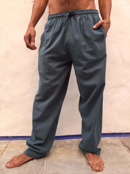 Dusty Blue Cotton Drawstring Pants